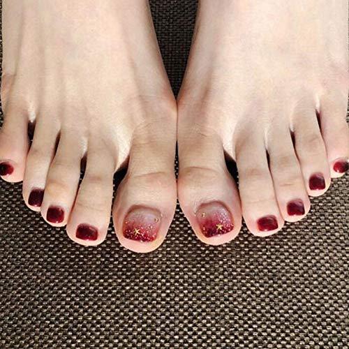 WOVP Künstliche Nägel Damen DIY Falsche Zehennägel Gradienten Weinrot Künstliche Presse Auf Zehennägel Gefälschte Nägel Mit Kleber