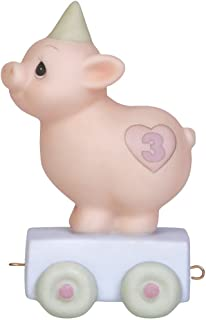 Precious Moments,  Heaven Bless Your Special Day, Birthday Train Age 3, Bisque Porcelain Figurine, 142023