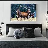 Geiqianjiumai Deer Canada Carteles e Impresiones Realismo Alces Arte de la Pared...