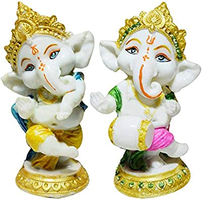 GW Creations Lord Ganesha, Car Dashboard/for Home Decorative Showpiece - 10 cm (Polyresin Pack of 2)