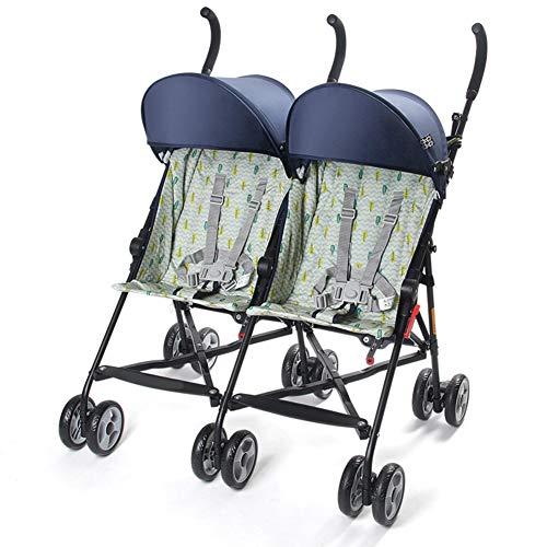 D&XQX Doppel-Buggy, Twin Kinderwagen Kinderwagen, Vorderfestsitz Komplett Doppel-Buggy, mit Regen-Abdeckung, Leicht, Faltbare und bewegliche,Blau