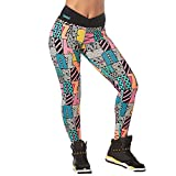 Zumba Fitness Wide Waistband Dance Fitness Compression Fit Print Workout Leggings For Women Legging, Mujer, Teal Dem Everything, L