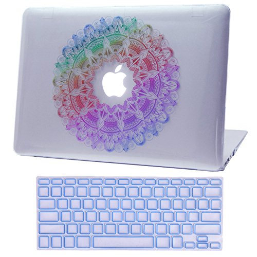 HDE MacBook Air 13 inch Case - Hard Shell Cover Keyboard Skin Fits Previous Generations A1466 A1369 (2008-2017) - Rainbow Mandala