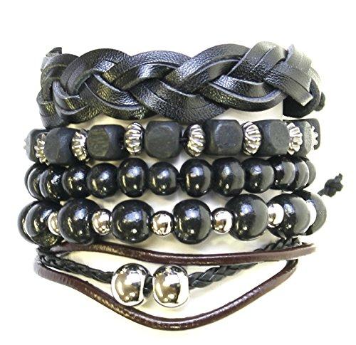 Neptune Giftware Lot de 5 Perles de Bois/Cuir Cordon & Surf Style Surfeur Bracelets Bracelets - 181