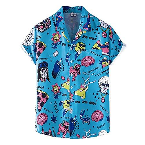 Shirt Hombres Verano Deporte Casual Hombres Manga Corta Solapa Botón Tapeta Moda Creativa Impresión Dibujos Animados Shirt Playa Natación Surf Fiesta Vacaciones Shirt XH81 3XL