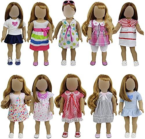 ZTITA ELEMENT 8er Puppenkleider Kleidung für 36cm-46cm Babypuppen American Girl Doll Stehpuppen Puppenbekleidung