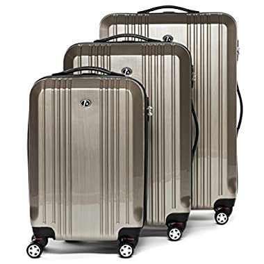FERGÉ luggage set 3 piece carry-on large and XL - lightweight hard shell trolley TSA-lock CANNES champagne-wire | Polycarbonate suitcase set 4 twin spinner wheels - cabin hand luggage JetBlue Delta