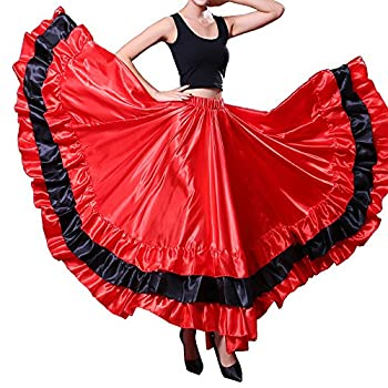 Women Black Red Layers Satin Long Skirt for Spanish Flamenco Belly Dance Gypsy Mexico Ballet Folklorico Performance Costume