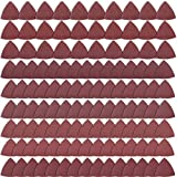 SIQUK 120 Pieces Sandpaper Triangle <span class='highlight'>Sanding</span> Pads Hook and Loop Sandpaper Assorted 40/60/80/120/150/180/240/320/400 Grits <span class='highlight'>for</span> 3-1/8 Inch Oscillating Multi Tool, No Holes