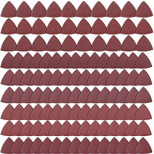 AUSTOR 120 Pieces Triangular Sandpaper, Triangle Sanding Sheets Fit 3-1/8 Inch Oscillating Multi Tool Sanding Pad, Hook and Loop Assorted 40/60/80/120/150/180/240/320/400 Grits, No Holes
