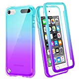 iPod Touch 7th 6th 5th Generation Case, Ruky iPod Touch 5 6 7 Full Body Case with Built in Screen Protector Soft TPU Shockproof Bumper Protective Clear Girls Case for iPod Touch 5 6 7 (Teal Purple)