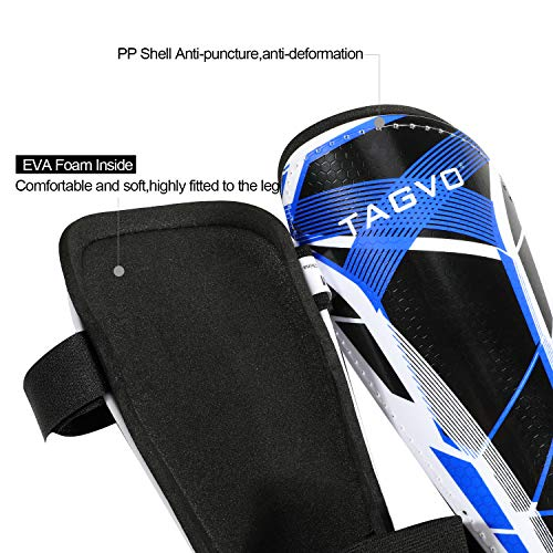 TAGVO Football Shin Pads Kids Junior Shin Guards Football Equipment with Ankle Sleeves & Hard Shell Protection, Youth Adults Sizes Child Football Shin Pads for Boys Girls