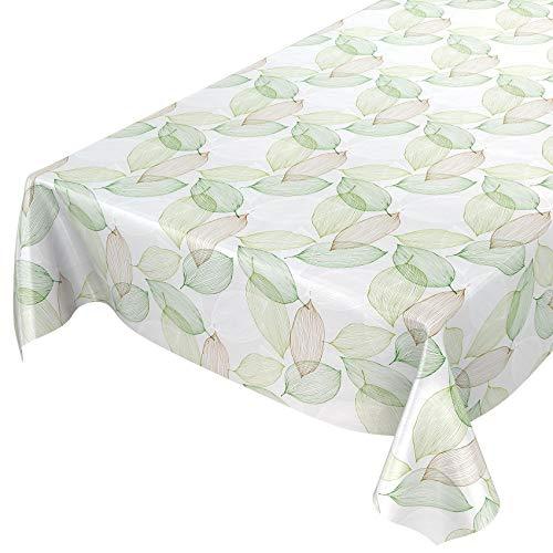 ANRO Wachstuchtischdecke Wachstuch Wachstischdecke Tischdecke abwaschbar Abstrakt Stimmung Laub Grün 160 x 140cm