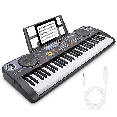 Miagicfun Teclado Piano Digital 61 Teclas, Teclado Electrónico Portátil con Atril, Altavoz y Modo de Grabación para Niños y Adultos Principiantes, Alimentado por la Red o Batería