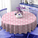 Paño de mesa redondo suave geométrico grande y pequeño retro lunares con diseño artful y femenino de color suave como regalo Diámetro 47 pulgadas Rosa Pale Pink