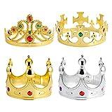 STOBOK 4 Piezas de Coronas de Rey Real Y Tiara de Princesa Corona de Oro de Los Rey Reales con Joyas Corona de Fiesta Accesorios de Disfraz de Príncipe para Cumpleaños Suministros de