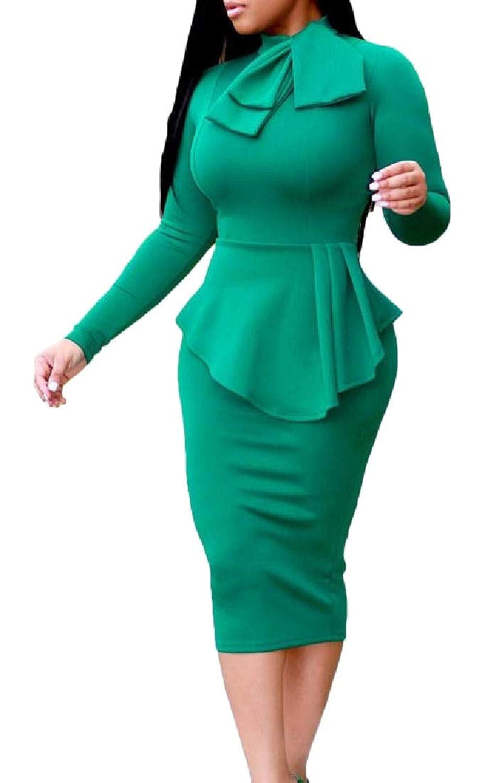 Candiyer 女性の公式Pepumブラウスシャツペンシルスカート一式