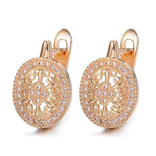 ENDFF Aretes Luxury Wedding Zircon Stud Pendientes Hueco Flores Oval Pendientes Hermoso para Las Mujeres Joyas de Compromiso de Oro Rosa De Moda (Metal Color : Rose Gold Color)