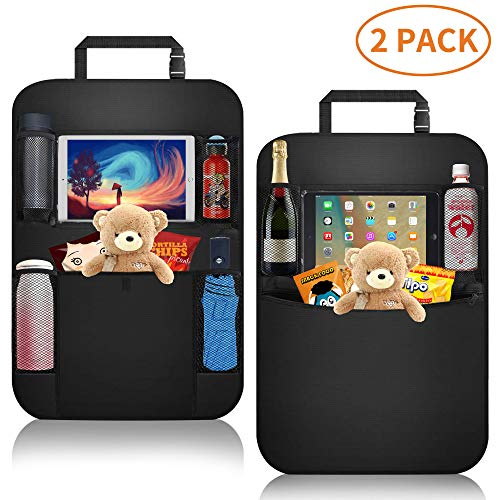 Car Organizer Back Seat,Car Back Seat Protector,Waterproof Kick Mat,Clear Touch Screen Tablet Holder for Kid/Travel with Multi Pocket,Car Seat Organizer,Car Storage Organizer with 2 Pack