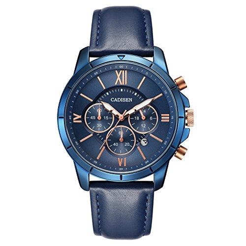 Cadisen orologi da uomo orologio cronografo calendario impermeabile stile...