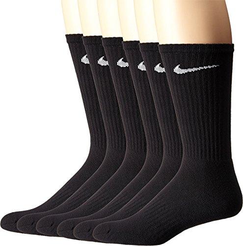 NIKE Unisex Performance Cushion Crew Socks with Band (6 Pairs), Black/White, Medium