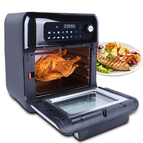 Uten Friggitrice ad aria 10L,Forno Rotante,Funzionamento con Manopola Touch Screen,Con Schermo Digitale,12 Modalità di Cottura,Set Accessori,1500W Nero