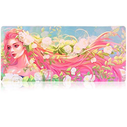 Extended Gaming Mouse Pad Mat XXXL 35.4'x15.7'x0.16'(4mm Ultra Thick), Extra Large Office Desk Mat, Floral Design, Stitched Edges, Waterproof, Heavy Duty Mousepad, Goddess