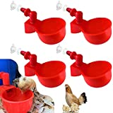 BALYWOOD@LETANG 4 Pack Auto-Fill Poultry Watering Cups, with Hardware-4 Pack Tees Fittings for 1/2