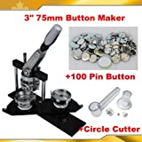 "All metal 3"" 75mm Badge Button Maker Machine+Circle Cutter+100 Pin Badge"