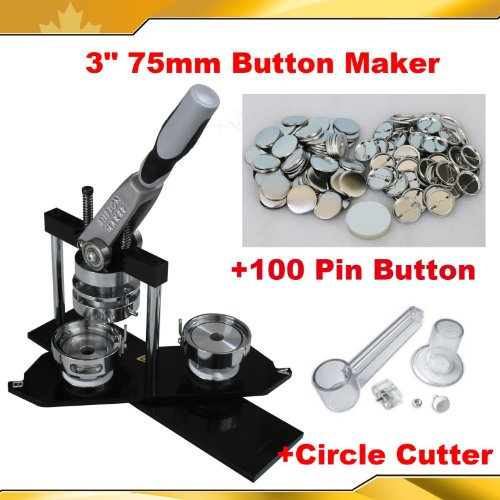 Fantastic Prices! All metal 3″ 75mm Badge Button Maker Machine+Circle Cutter+100 Pin Badge