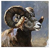 Diy 数字油絵 _ 羊ラム雌羊子羊縁起の良い動物 _ キャンバスの油絵 大人の子供のためのギフト 数字キットでペイ _ ント ホームデコレ ー 茶屋 _ 40X50Cm _ 【ギフト】木製フレーム
