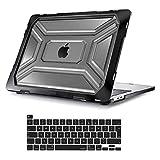 MOSISO Coque Compatible avec MacBook Pro 13 Pouces 2020 Version A2338 M1 A2251 A2289 avec Touch Bar, Lourd Devoir Plastique Coque Rigide avec TPU Pare-Chocs&Protection Clavier, Noir
