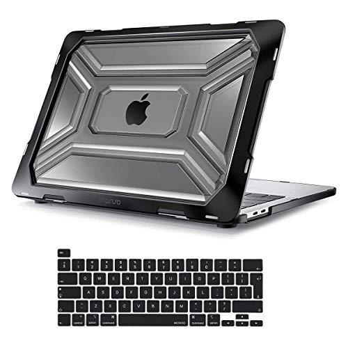 MOSISO Funda Dura Compatible con MacBook Pro 13 Pulgadas A2338 M1 A2289 A2251,Tarea Pesada Carcasa Protectora de Plástico Cubierta con TPU Parachoques&Cubierta de Teclado con Touch ID,Negro