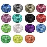 YANSHON Cuerda de Hilo de Yute Colorido 15 Colores Hilo de Yute Hilo de Jardín Cuerda de Hilo Natural para Manualidades, Envoltura de Regalos, Jardinería, 25 m x 2 mm