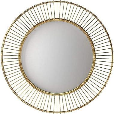 """Amazon Brand – Rivet Modern Round Iron Circle Metal Hanging Wall Mirror, 27.75"""" Diameter, Gold Finish"""