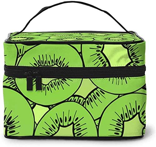 Kiwifruit Slice Green (7) - Bolsa de maquillaje grande para mujer, portátil, organizador de viaje con cremallera de malla cepillo de bolsillo con asa para niña