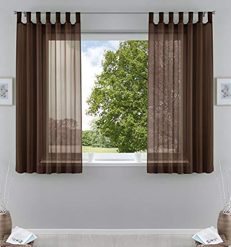 2er-Pack Gardinen Transparent Vorhang Set Wohnzimmer Voile Schlaufenschal mit Bleibandabschluß HxB 175x140 cm Braun, 61000CN
