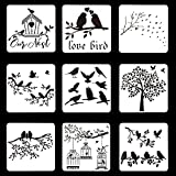9 plantillas de jaula de pájaros reutilizables para pájaros, ramas de árbol de pájaros y hojas, plantilla de dibujo de hojas, plantilla de pintura para ventanas de pared(23x23cm)