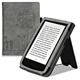 kwmobile Flip Hülle kompatibel mit Pocketbook Touch Lux 4/Lux 5/Touch HD 3/Color (2020) - Handschlaufe - Cover Pusteblume Love Grau