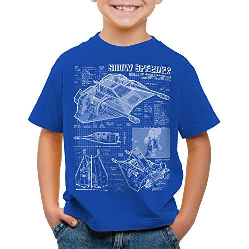 style3 Aerodeslizador T-47 Camiseta para Niños T-Shirt Fotocalco Azul hoth Snow Speeder, Color:Azul;Talla:152