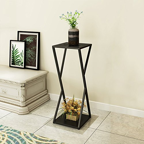 LWJJHJ Bloemenstandaard Krukje Bloemenstandaard Krukje Vierkant Bijzettafel Tall Pot Stand - Zwart metalen bloemenstandaard. platte top in zwart Bloemisten voetstuk