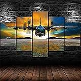 45Tdfc 5 Paneles Arte GráFica Pintura Pared Fairchild C-123K Aeroplano Puesta de Sol Paisaje ImáGenes para DecoracióN Moderna Hogar Mural Salon Dormitorio 150 * 80Cm Marco