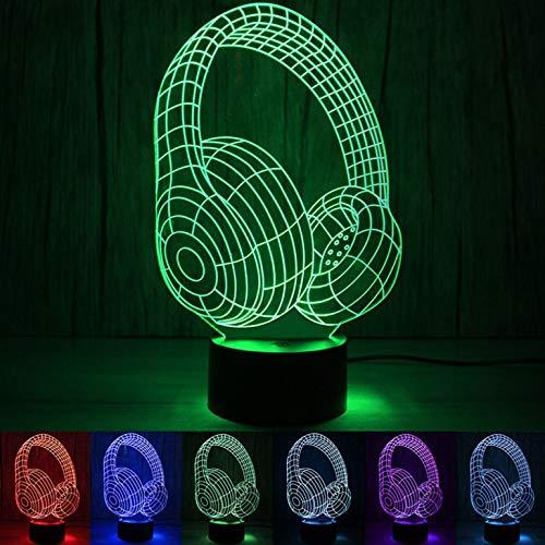 Gepersonaliseerde jongens nachtlampje voor kinderen/baby - kerstcadeaus voor kinderen - 7 kleuren en een kleur veranderende instelling acryl koptelefoon kleurrijke lichten