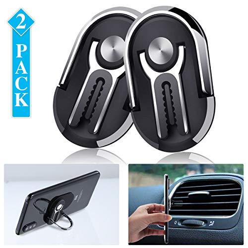 Cell Phone Ring Holder Stand, ARTISTORE 3 in 1 Multipurpose Mobile Phone Bracket, Phone Metal Ring Holder use for Universal Car Air Vent, 360°Rotation & 90°Flip (Black)