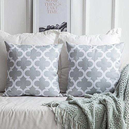 MIULEE 2er Set Leinenoptik Home Dekorative Kissenbezug Geometrisches Kissen Kissenhülle für Sofa Schlafzimmer mit Reißverschlüsse Grau-grün 18 x 18inch 45 x 45cm