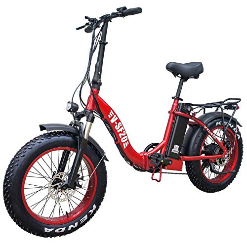 Vtuvia Folding Electric Bike 20 Inch Fat Tire City Mountain E-Bike for Adults Men&Women 750W Motor 48V 13AH Removable Lithium-Ion Battery LCD Screen Beach Snow Electric Bicycle (Red-Red Rim)