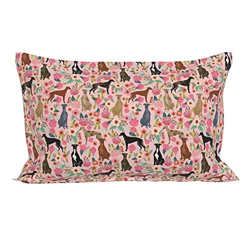 Funda de almohada oblonga lumbar, diseño de flores de galgo, ideal para perros y perros