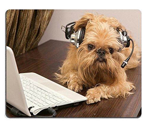 Goobull Luxlady Gaming Mousepad Image ID: 27352774Dog Breed Griffon Bruxellois Si siede Vicino al di Cuffie