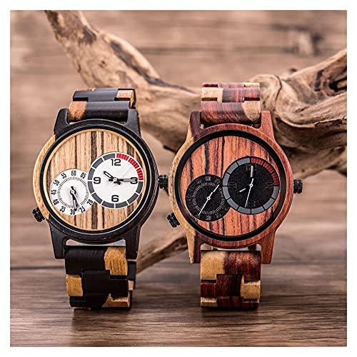 2 unids marido y esposa reloj de madera dual zona de tiempo reloj de madera reloj de madera Movimiento de cuarzo japonés Casual Business Ladies Watch Sports Men's Wogen Watch Combinación de tecnología