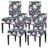 Juego de 4 fundas de silla para comedor, diseño de unicornios, princesa, elásticas, fundas de silla lavables, protector de asiento extraíble para cocina, hotel, restaurante, fiesta ceremonia